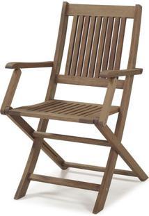 Cadeira Em Madeira Maciça Dobrável Com Braços Primavera Casa E Jardim Móveis Stain Castanho