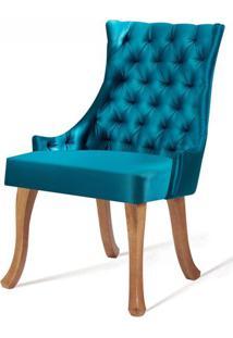 Cadeira Rocaille Capitone Azul Base Natural - 50563 - Sun House