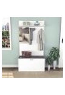 Armário Para Hall De Entrada Com 1 Porta E Espelho - Branco