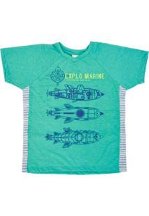 T-Shirt Lápis De Cor Em Malha Verde