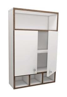 Armário Para Banheiro Vtec Puppis Com 2 Portas - Branco/Marrom