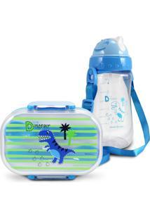 Conjunto Pote Para Lanche E Squeeze Infantil Dinossauro 1 Menino Jacki Design Azul - Kanui