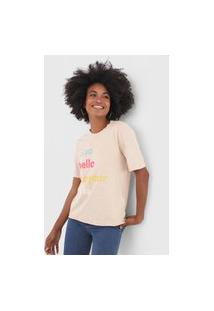 Camiseta Only Ciao Bege