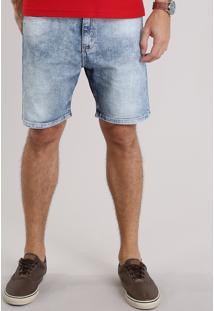 Bermuda Jeans Masculina Skinny Com Bolsos Azul Claro