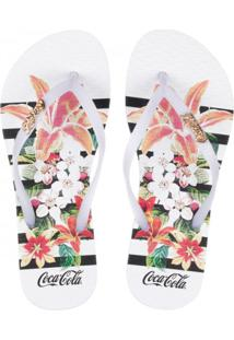 Sandália Feminina Coca-Cola Flowers Stripes