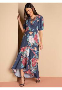 Vestido Longo Floral Marinho Com Babado Na Barra