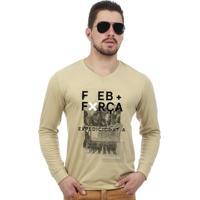 8383a6184b Camiseta Team Six Militar Manga Longa Feb Força Expedicionária Brasileira  Bege