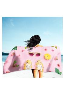 Toalha De Praia / Banho Pink Pastel Color Único