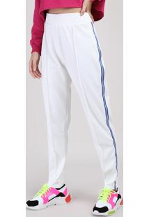 Calça Feminina Manu Gavassi Cintura Alta Com Bolsos E Faixa Lateral Off White