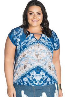 Blusa Azul Rovitex Plus