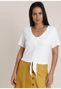 Blusa Feminina Ampla Com Nó Manga Curta Decote V Branca