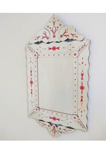 Espelho Veneziano Decorativo, Sala, Luiz Xv Plus Vermelho 63X119