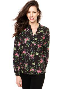 Camisa Manga Longa Enfim Floral Preta