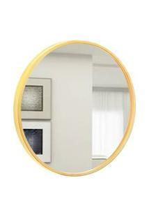 Espelho Decorativo Round Externo Amarelo 30 Cm Redondo