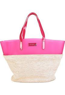 Bolsa Petite Jolie Shopper Judy Bag Palha Feminina - Feminino-Nude+Bege