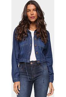 Jaqueta Jeans Cambos Com Amarração Feminina - Feminino