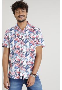 Camisa Masculina Estampada De Folhagem Com Flamingos Manga Curta Branca