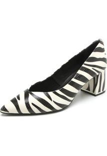 Scarpin Couro Jorge Bischoff Zebra Branca