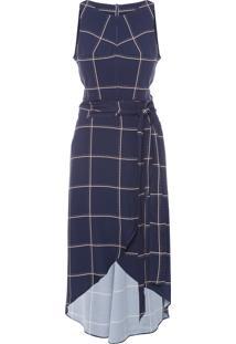 Vestido Curto Xadrez Traçado Suite - Azul