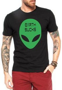 Camiseta Criativa Urbana Alien Earth Sucks - Masculino-Preto
