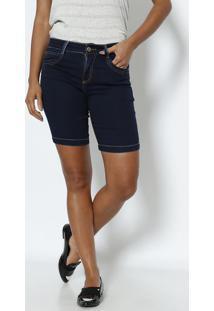 Bermuda Jeans Com Pespontos- Azul Marinhovide Bula