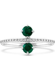 Anel Ouro Branco Diamantes E Esmeraldas