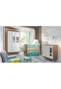 Dormitório Guarda Roupa Ariel 3 Portas Fraldário Berço Gabi Amadeirado Carolina Baby Marrom/Branco