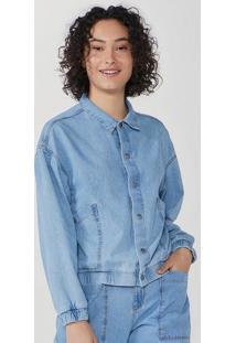 Jaqueta Feminina Bomber Em Jeans