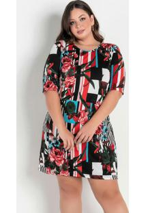 Vestido Curto Floral E Geométrico Plus Size