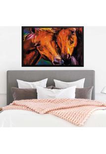 Quadro Love Decor Com Moldura Horses Preto Grande