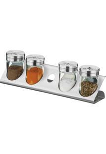 Porta Condimentos / Tempero 5 Peças De Vidro Com Suporte De Aço Inox, Capacidade De 80Ml Cada, Tampascom 3 Opções De Regulagem Parma - Brinox