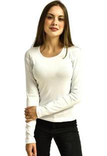 Camiseta Rich Manga Longa Básica Lisa Feminina - Feminino-Branco