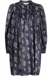 Isabel Marant Étoile Vestido De Algodão Com Estampa Paisley - Azul