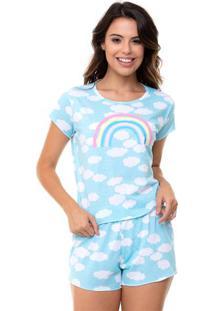 Pijama Short Doll Cropped Arco-Íris Feminino Luna Cuore