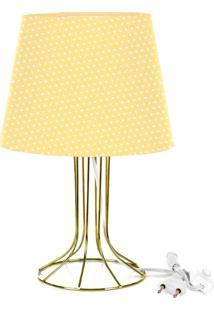 Abajur Torre Dome Amarelo/Bolinha Com Aramado Dourado