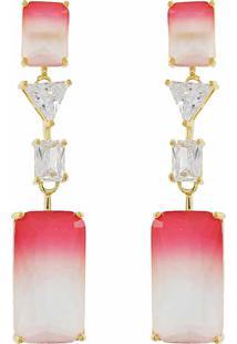 Brinco Narcizza Semijoias Pêndulo Quadrados Multicollors - Rainbow Vermelho E Branco Com Detalhes Cristal Ouro