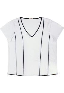 Blusa Em Tecido Flex Com Decote V Branco