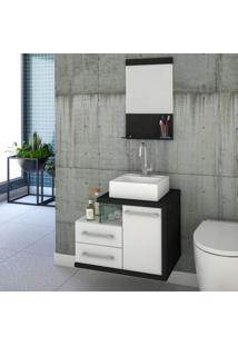 Gabinete Para Banheiro 1 Porta 2 Gavetas 1 Cuba Q35 E Espelheira Legno 651W Siena Móveis Branco C/Preto Onix