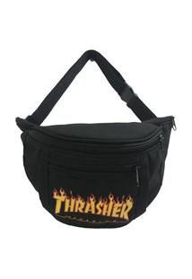 Pochete Thrasher Flame Logo Preta