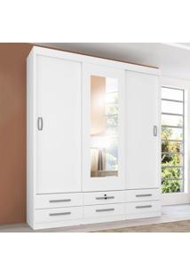 Guarda-Roupa Casal 3 Portas 6 Gavetas Com Espelho Lisboa Branco - Genialflex