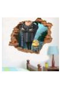 Adesivo De Parede Buraco Falso 3D Minion Egru - M 61X75Cm