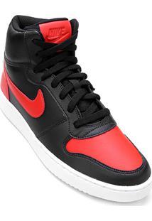 Tênis Couro Cano Alto Nike Ebernon Mid Masculino - Masculino-Preto+Vermelho