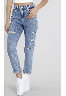 658854c3f ... Calça Jeans Feminina Mom Pants Com Rasgos Azul Médio