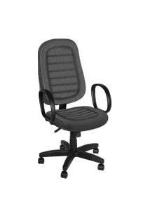 Cadeira Presidente Base Giratória C/ Bra Cinza