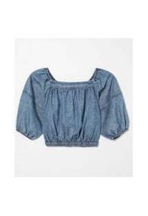 Blusa Cropped Ciganinha Lisa Com Recortes | Blue Steel | Azul | G