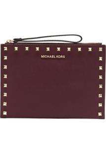 Michael Michael Kors Clutch Jet Set De Couro - Vermelho