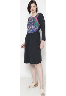 Vestido Em Linho Bordado- Azul Marinho & Rosa- Cottocotton Colors Extra