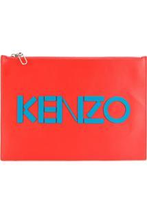 Kenzo Clutch De Couro Com Logo - Amarelo