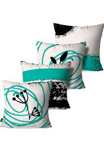 Kit Com 4 Capas Para Almofadas Pump Up Decorativas Folhas Traços E Linhas 45X45Cm