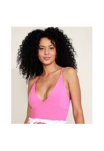 Body Feminino Canelado Alça Fina Decote V Rosa